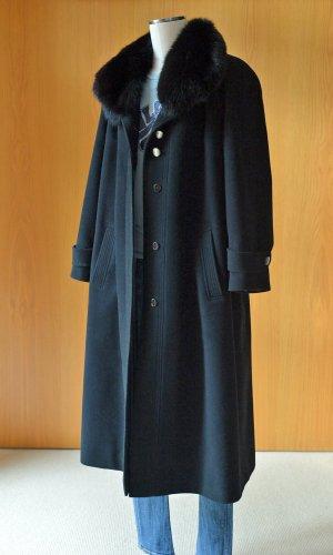 Vintage Manteau oversized noir-gris ardoise laine