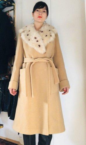 Vintage Mantel aus Wolle mit kunstfell Kragen