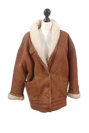 Vintage Mantel Gr. 36/38 echtes gewachstes Lammfell Flieger Jacke Echtleder warm Winter