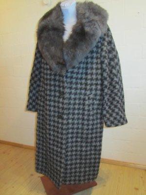VINTAGE-MANTEL: Grauer handgefertigter Mantel, 100% Wolle ca. Gr. 44