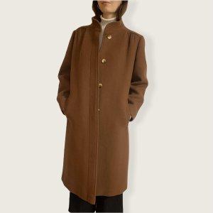 Vintage Mantel in braun mit verdeckter Knopfleiste
