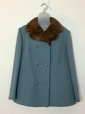 Vintage Vareuse bleu pâle-gris ardoise laine vierge