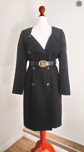Vintage Mantel Zweireiher Schulterpolster Retro feminin Caban Peacoat oversized