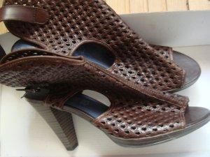 Vintage  Marco Tozzi - Sommer Stiefel mit Lochmuster Gr. 39 Leder braun - ausgefallen und edel