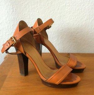 Vintage Massimo Dutti Sandaletten High Heels Cognac Butterscotch Gr. 38