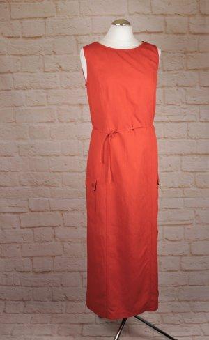 Vintage Maxikleid Lang Kleid Cargokleid Größe 36 S Rotorange Orange Rot Kaftan Sommerkleid Viskose Leinen