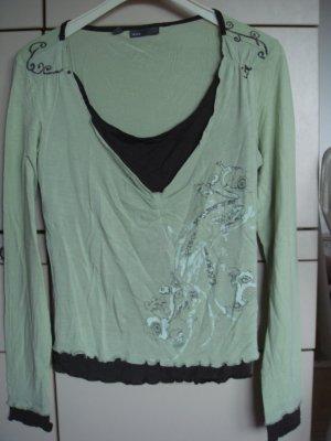 Mexx V-Neck Shirt pale green-olive green viscose
