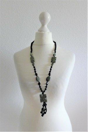 Vintage Modeschmuck Kette Halbedelstein schwarz grün Perle Stern Boho