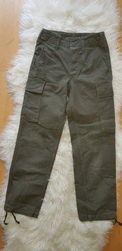 Vintage Hoge taille jeans olijfgroen-khaki