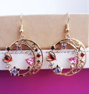 Vintage Mond Sterne Ohrringe in Gold mit Zirkone