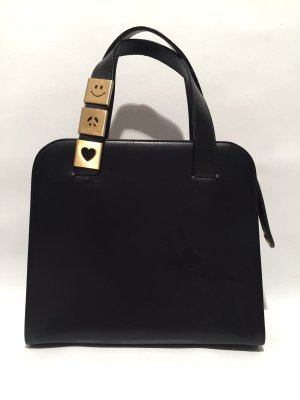 Moschino Carry Bag black-gold-colored leather