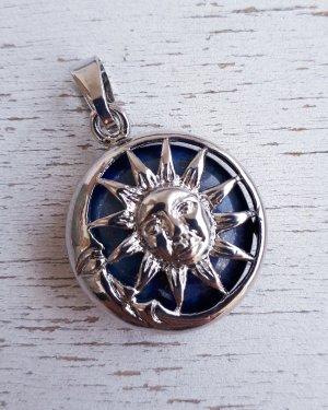 """Vintage Natürliche Stein Lapis Lazuli Anhänger Medaillon Amulette """"Sonne und Mond"""" in Silberne Farbe"""