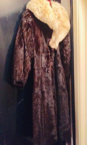 Vintage Nerz Pelz-Mantel mit Fuchs Pelzkragen, luxuriöse Pelzmantel Damen... Einzelstück