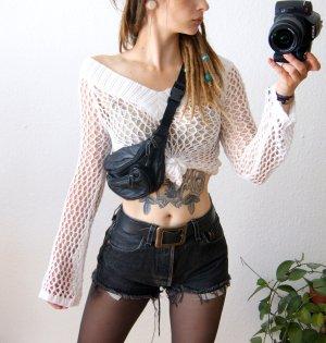 Vintage Gehaakt shirt wit-wolwit