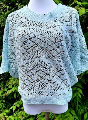 Vintage Pull en crochet crème-turquoise