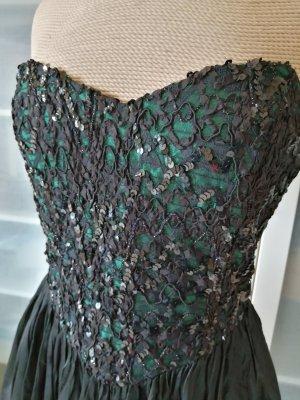 Vintage Nicola Abend Kleid Bandeau Pailletten Gr. 38