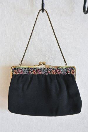 Vintage niedliche kleine Handtasche mit Petit-Point Stickerei schwarz gold mini Abendtasche