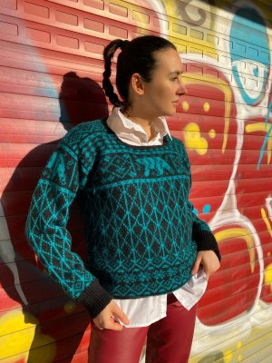 True Vintage Norwegian Sweater black-turquoise