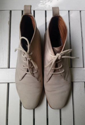 Vintage Nubouk Leder Boots hellbeige