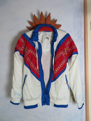Vintage Nylon Bomber Jacke Lavon Weiss Blau Rot Windbreaker Sailor Anorak S M L 80s Vintage