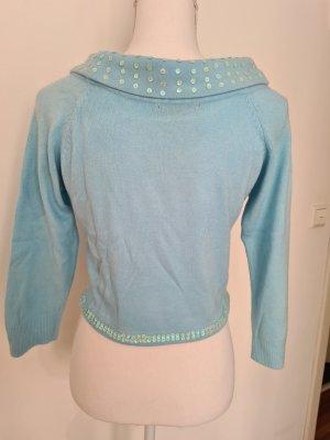 Vintage Oberteil mit Rollkragen Pullover Pailletten in hell blau Gr. S