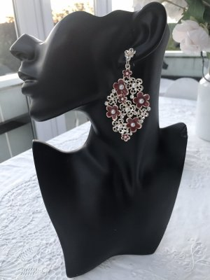 Modern vintage Orecchino a pendente argento-rosso scuro