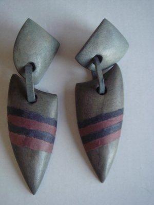 Vintage - Ohrringe Holz grau Ohrstecker - Modeschmuck 90er Jahre