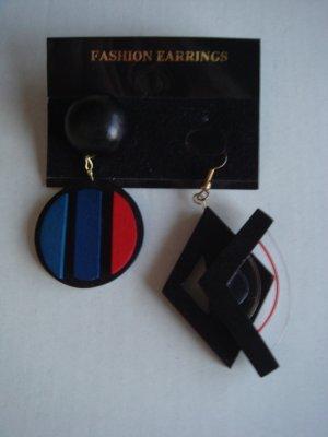 Vintage - Ohrringe Holz schwarz rot blau Ohrstecker - Modeschmuck 90er Jahre