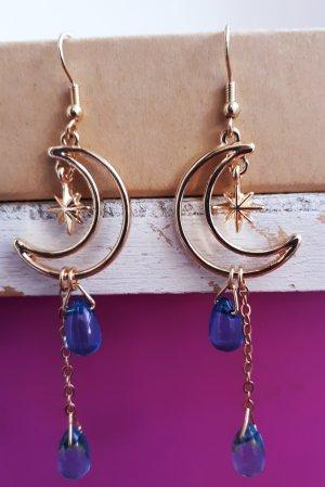 Vintage Pendant d'oreille doré-bleu acier