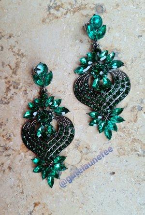 vintage Ohrringe mit kleinen grünen Strass Steinchen