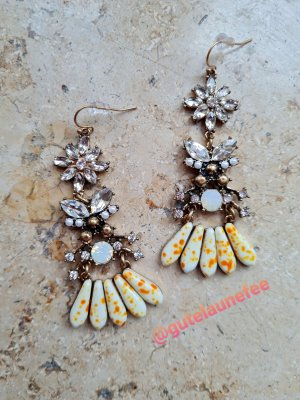 Vintage Ohrringe mit Natursteinen antikgoldfarben