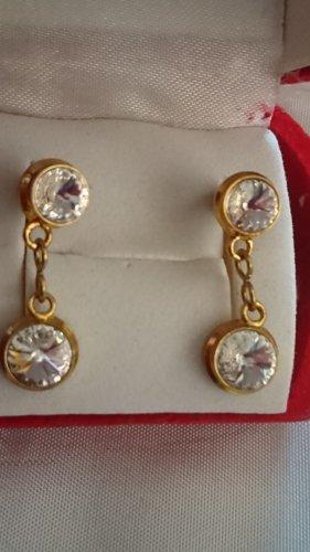 Vintage Ohrringe Ohrstecker vergoldet mit Zirkonia Steinchen.