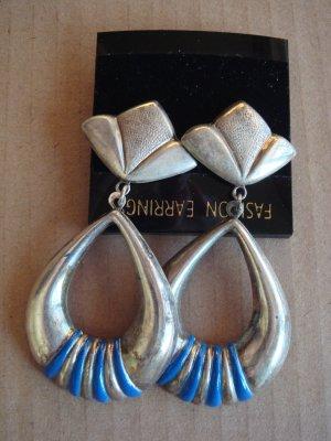 Vintage - Ohrstecker hängend silbrig und blau  - Metall - 90er Jahre Modeschmuck