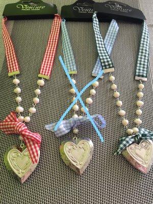 Vintage Oktoberfest Kette Halskette Herz Dirndlkette Karo