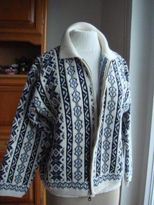 Vintage -  Outborn Casual Wear - dicke Trachtenjacke im Norwegermuster Gr. 42/44 creme schwarz