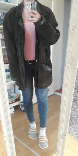 Vintage Oversize Leder Jacke braun Khaki retro Parka