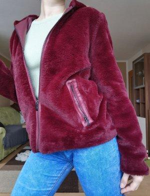 Vintage Veste de fourrure rouge carmin-bordeau