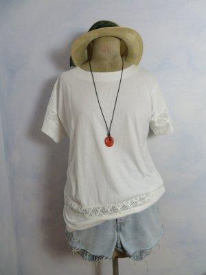 Vintage Oversize Spitzen Shirt Weiß Longshirt S M L 100% Baumwolle Bluse Hemd Oberteil