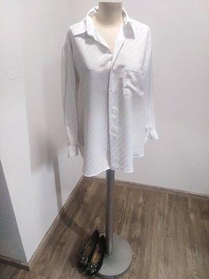 Vintage Oversized Bluse weiß glänzend gestreift Gr. 42