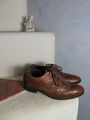 Vintage Patrizia T. Boho Braun Budapester 37 Leder Schuhe Lace Up Derby Brogues Schnürschuhe