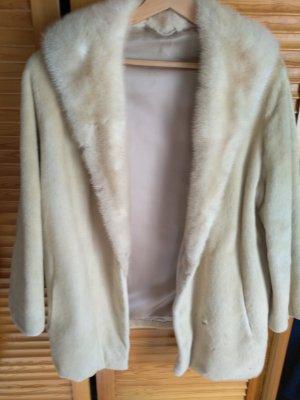 Giacca in pelliccia bianco sporco-beige chiaro