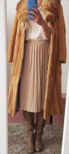 Vintage Abrigo de piel marrón arena