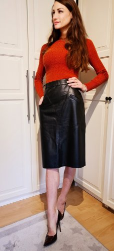vintage pencil skirt lederrock leather high waist
