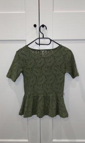 Top z baskinką zielono-szary-khaki