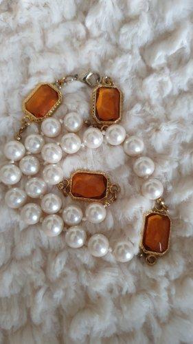 Collier de perles blanc-orange doré