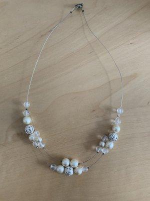 Vintage Naszyjnik z perłami biały-srebrny