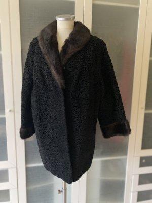 Vintage Love Manteau de fourrure noir-brun foncé