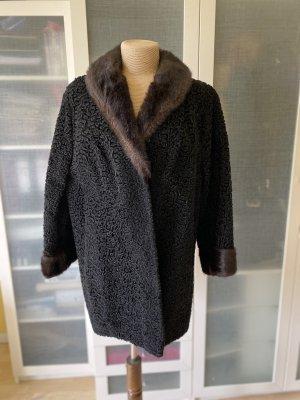 Vintage Love Abrigo de piel negro-marrón oscuro