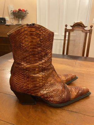 Botines estilo vaquero coñac-marrón