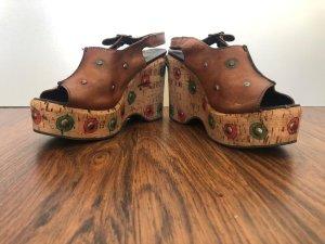 Platform Sandals cognac-coloured